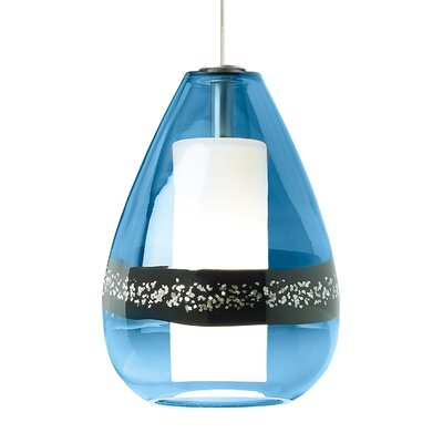 Mini-Miyu 1-Light Mini Pendant Shade Color: Steel Blue, Finish: Satin Nickel