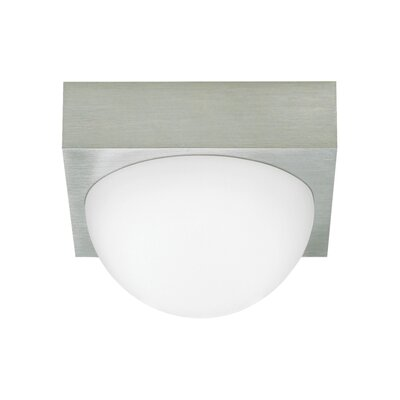 Strahan 1-Light Flush Mount Finish: Satin Nickel, Shade Color: Frost
