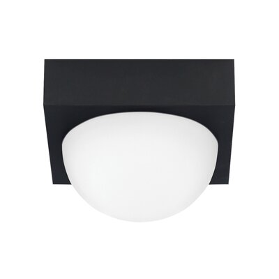 Strahan 1-Light Flush Mount Finish: Rubberized Black, Shade Color: Frost