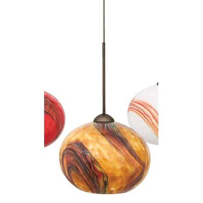 Hersey 1-Light Mini Pendant Color: Bronze, Shade Color: Blue, Bulb Type: Xenon