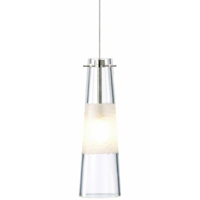 Bonn 1-Light Pendant Shade Color: Clear, Finish / Mounting / Bulb: Satin Nickel / Fusion Jack / LED