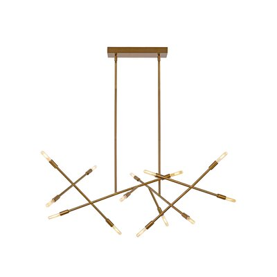 Line Wave 14-Light Sputnik Chandelier Finish: Aged Brass