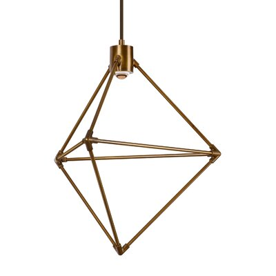 Crosslin 1-Light LED Geometric Pendant Finish: Aged Brass
