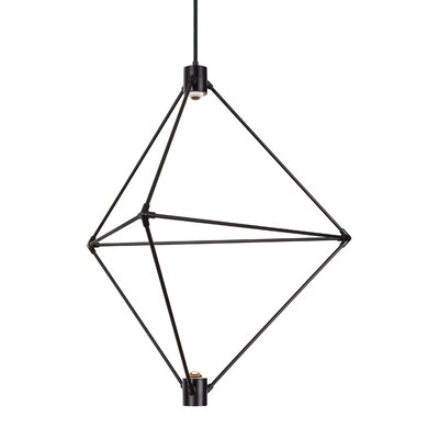 Crosslin 2-Light LED Geometric Pendant Finish: Black, Size: 34 H x 29 W x 29 L