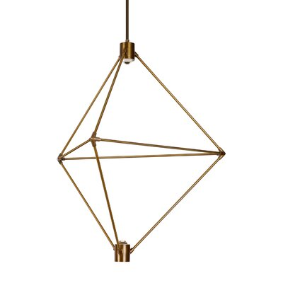 Crosslin 2-Light LED Geometric Pendant Finish: Aged Brass, Size: 34 H x 29 W x 29 L