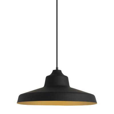 Zevo 1-Light Mini Pendant Finish: Black/Gold