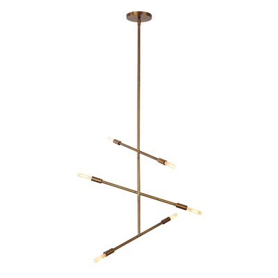 Line Wave 6-Light Sputnik Chandelier Finish: Aged Brass
