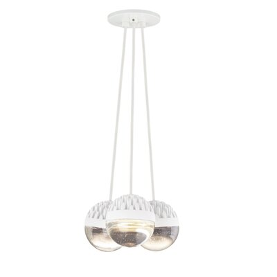 Sonntag 3-Light LED Cluster Pendant Finish: Rubberized�White, Shade Color: Cast�Clear