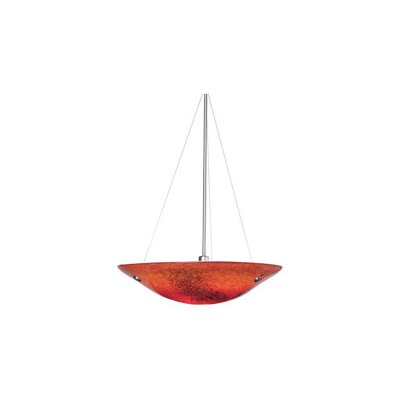 Veneto 3-Light Bowl Pendant Shade Color: Red, Finish: Satin Nickel