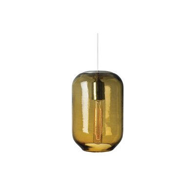 Mason 1-Light Pendant Shade Color: Amber, Finish: Satin Nickel