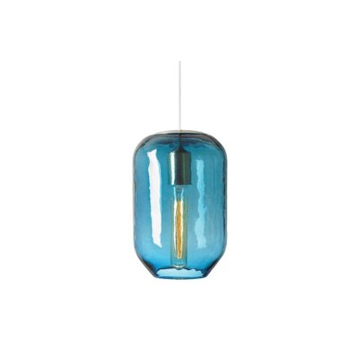 1-Light Pendant Shade Color: Steel Blue, Finish: Satin Nickel