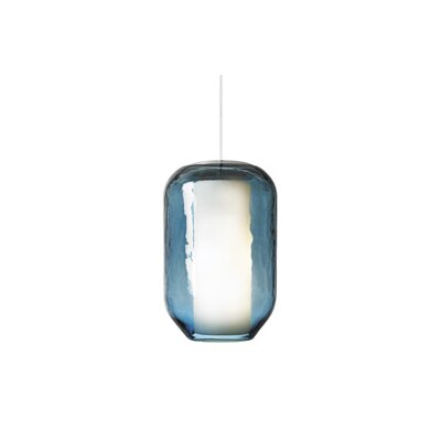 Mason 1-Light Pendant Shade Color: Steel Blue, Finish: Satin Nickel, Bulb Type: Incandescent