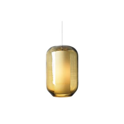 1-Light Pendant Shade Color: Amber, Finish: Satin Nickel, Bulb Type: Fluorescent