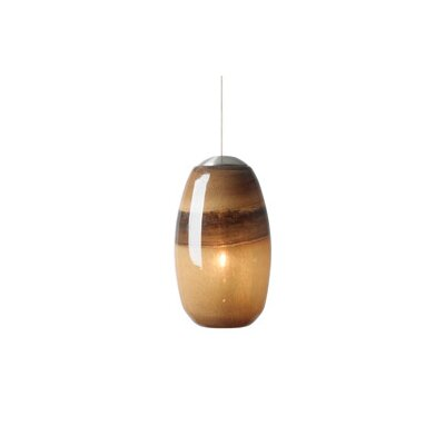Emi 1-Light Mini Pendant Shade Color: Light Chocolate-Brown, Finish: Satin Nickel, Mounting Type: Fusion Jack Mini Pendant