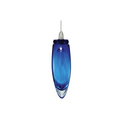 Hottinger 1-Light Mini Pendant Finish: Satin Nickel, Shade Color: Blue, Mounting Type: Fusion Jack Mini Pendant