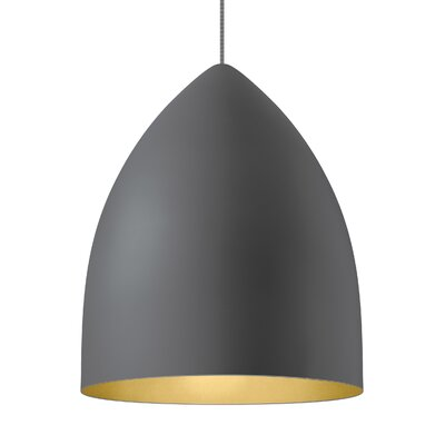 1-Light Inverted Pendant Shade Color: Rubberized Gray/Gold