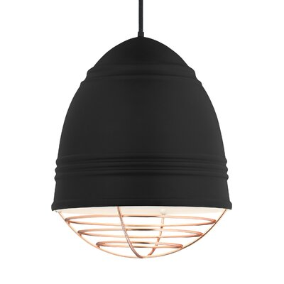 Else 3-Light Geometric Pendant Finish: Copper, Shade Color: Rubberized Black/White Interior