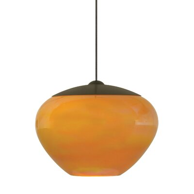 Fennell 1-Light Mini Pendant Finish: Bronze, Shade Color: Amber
