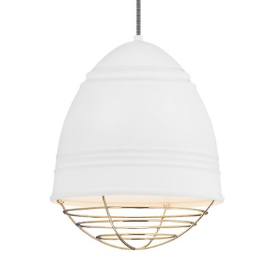 Else 1-Light Mini Pendant Finish: Polished Nickel, Shade Color: Rubberized White/White Interior
