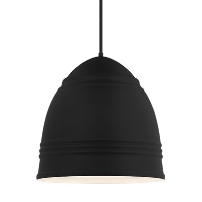 Else 3-Light Geometric Pendant Shade Color: Rubberized Black/White Interior