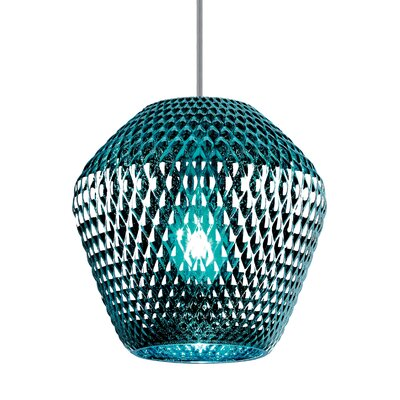 1-Light Mini Pendant Shade Color: Silver/Aqua