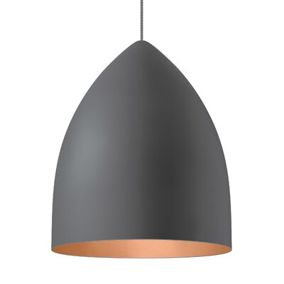 1-Light Inverted Pendant Shade Color: Rubberized Gray/Copper