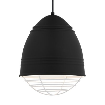 Else 1-Light Mini Pendant Finish: White, Shade Color: Rubberized Black/White Interior