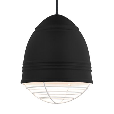 Else 3-Light Geometric Pendant Finish: White, Shade Color: Rubberized Black/White Interior