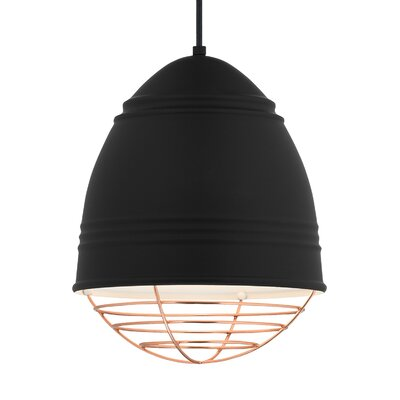 Else 1-Light Mini Pendant Finish: Copper, Shade Color: Rubberized Black/White Interior