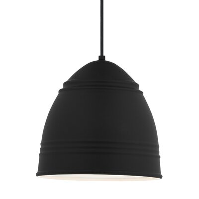 Else 1-Light Mini Pendant Shade Color: Rubberized Black/White Interior