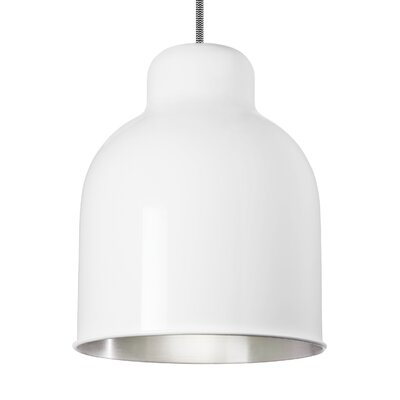 Deluna 1-Light Mini Pendant Shade Color: Gloss White/Brushed Aluminum