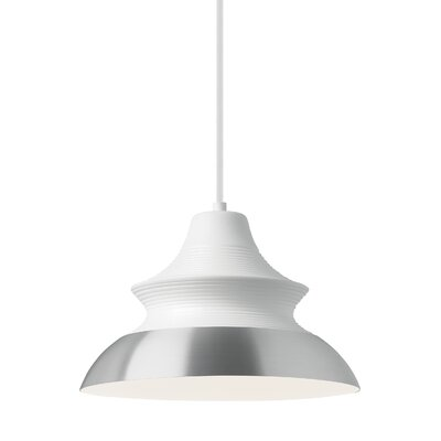 1-Light Inverted Pendant Shade Color: White/Aluminum, Size: 8 H x 12 W x 12 D