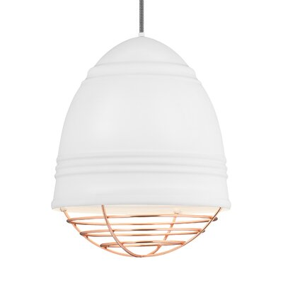 Else 3-Light Geometric Pendant Finish: Copper, Shade Color: Rubberized White/White Interior