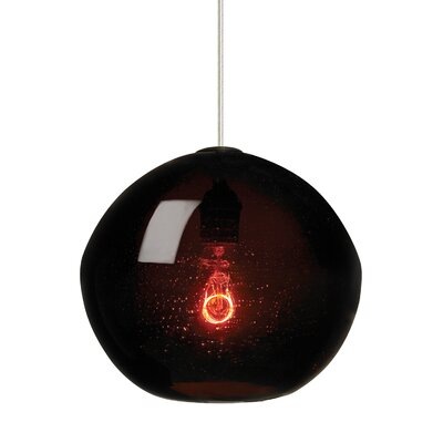 1-Light Globe Pendant Finish: Bronze, Shade Color: Brown