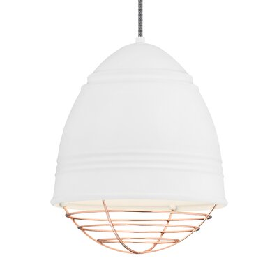 Else 1-Light Mini Pendant Finish: Copper, Shade Color: Rubberized White/White Interior