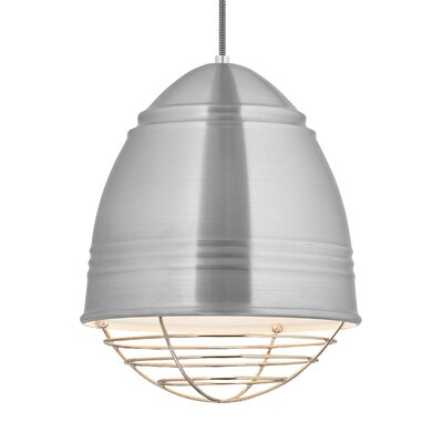 Else 1-Light Mini Pendant Finish: Polished Nickel, Shade Color: Brushed Aluminum/White Interior