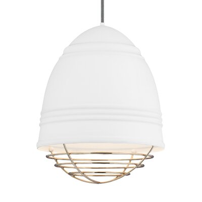 Else 3-Light Geometric Pendant Finish: Polished Nickel, Shade Color: Rubberized White/White Interior