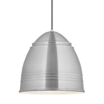 Else 1-Light Mini Pendant Shade Color: Brushed Aluminum/White Interior
