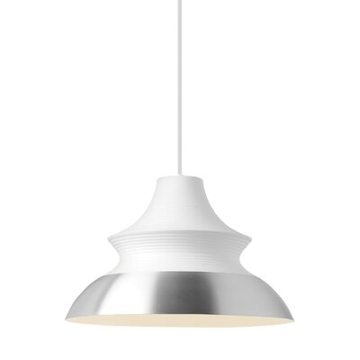 1-Light Inverted Pendant Shade Color: White/Aluminum, Size: 13 H x 20 W x 20 D