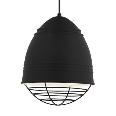 Else 1-Light Mini Pendant Finish: Black, Shade Color: Rubberized Black/White Interior