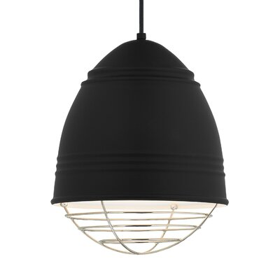Else 1-Light Mini Pendant Finish: Polished Nickel, Shade Color: Rubberized Black/White Interior