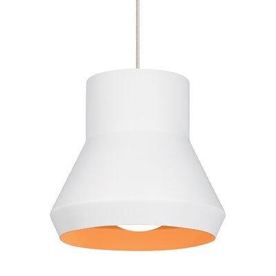 1-Light Mini Pendant Shade Color: White Outside/Orange Inside