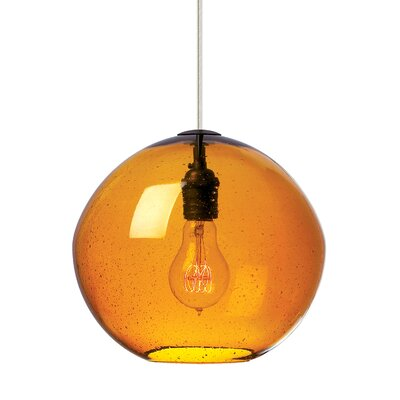 1-Light Globe Pendant Finish: Bronze, Shade Color: Amber