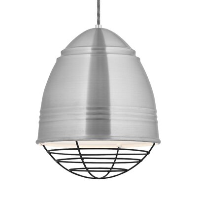Else 1-Light Mini Pendant Finish: Black, Shade Color: Brushed Aluminum/White Interior