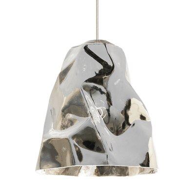 1-Light Mini Pendant Finish: Satin Nickel, Shade Color: Silver