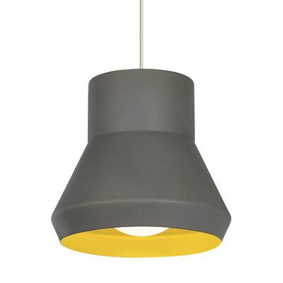 1-Light Mini Pendant Shade Color: Gray Outside/Chartreuse inside