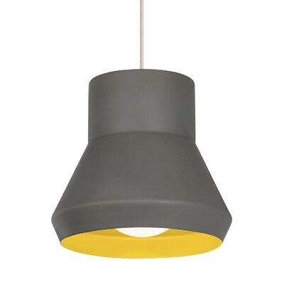 1-Light Mini Pendant Shade Color: Gray Outside/Chartreuse inside