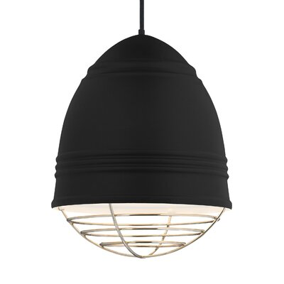 Else 3-Light Geometric Pendant Finish: Polished Nickel, Shade Color: Rubberized Black/White Interior