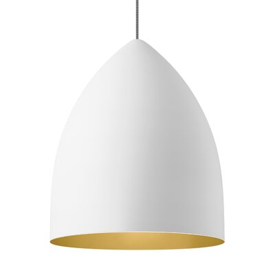 1-Light Inverted Pendant Shade Color: Rubberized White/Gold