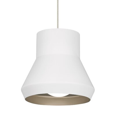 1-Light Mini Pendant Shade Color: White Outside/Champagne Inside
